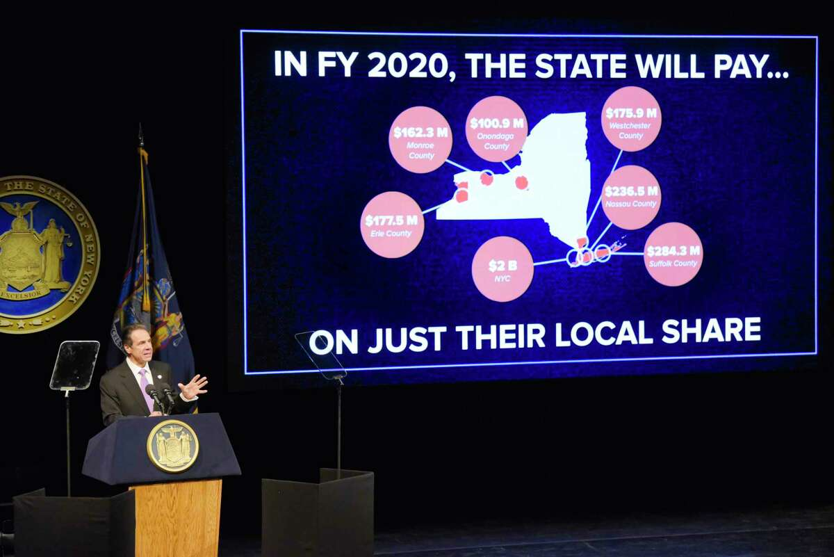 Governor Andrew Cuomo delivers his budget address on Tuesday, Jan. 21, 2020, in Albany, N.Y. The image of the screen is showing what the State will pay for Medicaid costs for different areas of the State. (Paul Buckowski/Times Union)