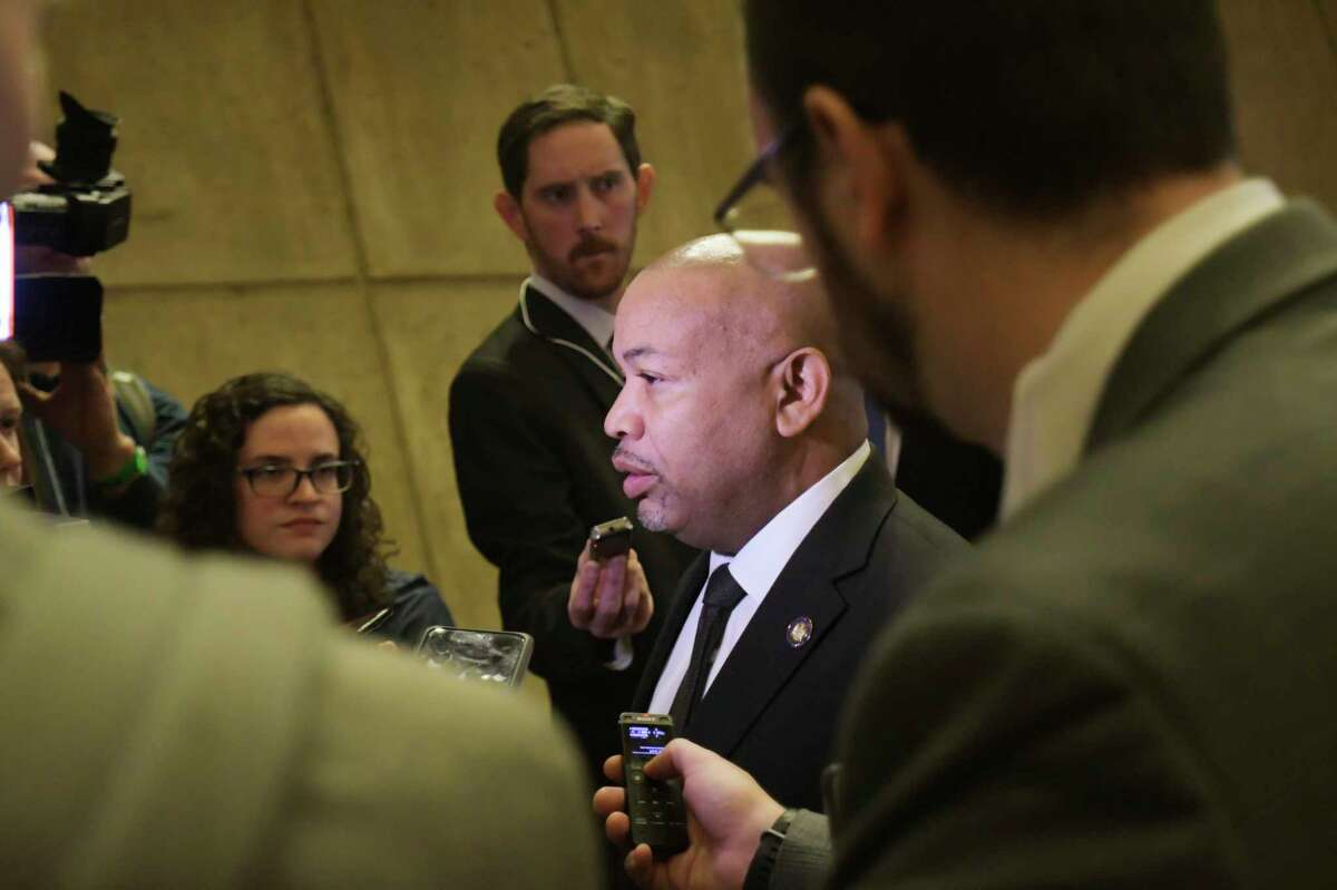 Assembly Speaker Carl Heastie talks to members of the media following Governor Andrew Cuomo's budget address on Tuesday, Jan. 21, 2020, in Albany, N.Y. (Paul Buckowski/Times Union)