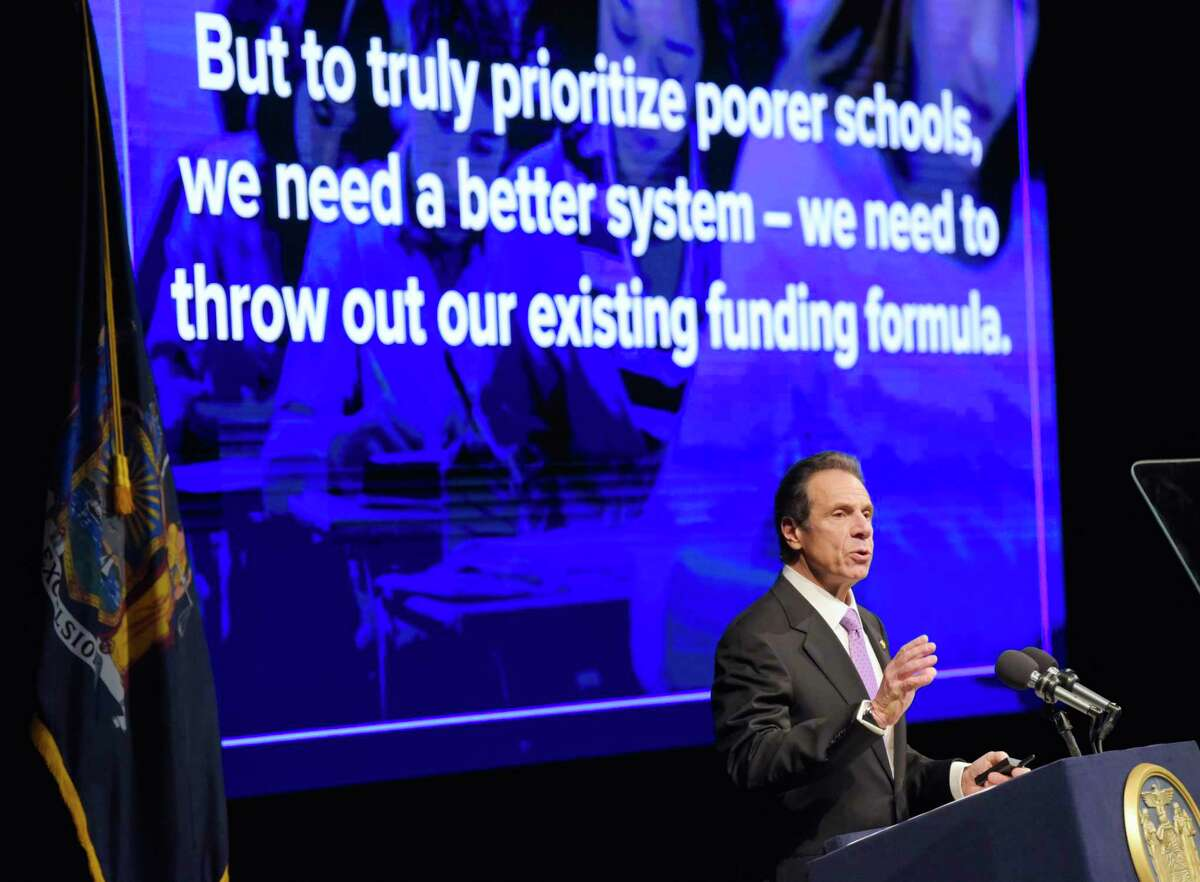 Governor Andrew Cuomo delivers his budget address on Tuesday, Jan. 21, 2020, in Albany, N.Y. (Paul Buckowski/Times Union)