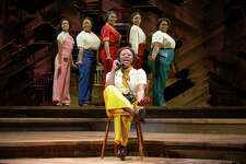 """Mariah Lyttle, front, with Gabriella Rodriguez, Elizabeth Abadale, Sandie Lee. Parris Lewis and Shelby A. Sykes in """"The Color Purple"""" touring show."""