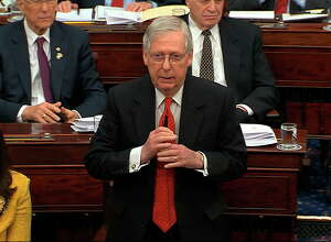 In this image from video, Senate Majority Leader Mitch McConnell, R-Ky., calls to table an amendment offered by Senate Minority Leader Chuck Schumer, D-N.Y., during the impeachment trial against President Donald Trump in the Senate at the U.S. Capitol in Washington, Tuesday, Jan. 21, 2020. (Senate Television via AP)