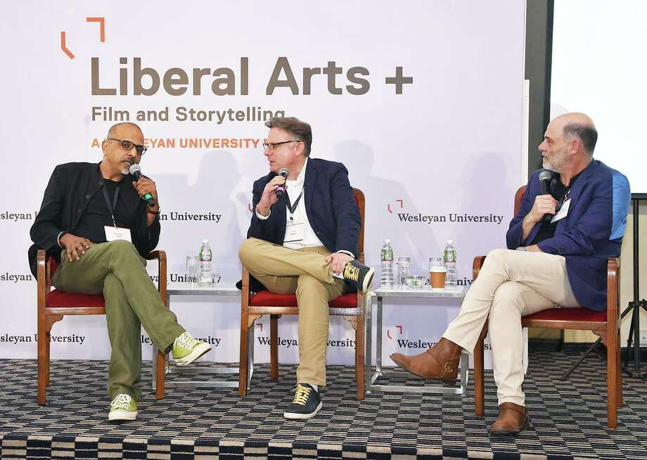 Liberal Arts + Film and Storytelling: A Wesleyan University Forum brought together faculty, distinguished alumni, prospective students and their parents Jan. 12 in India. Shown, from left, are Indian director Navdeep Singh, Wesleyan Professor Scott Higgins, and director and Wesleyan alumnus Matthew Weiner. Photo: Olivia Drake Photo