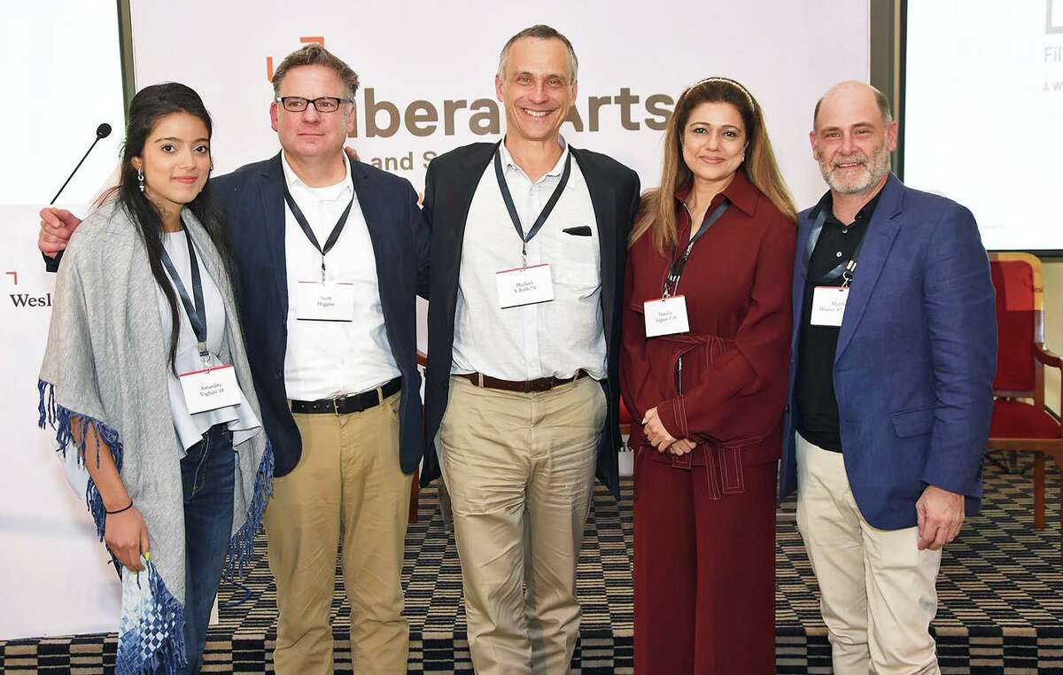 Several creatives gathered in Mumbai, India, earlier this month to share insights on liberal arts and the impact of Indian cinema on global entertainment. Here, from left, Aanandita Vaghani, Scott Higgins, Wesleyan University President Michael Roth, Manisha Ajay Vaghani and Matthew Weiner gather at the forum for a group photo.