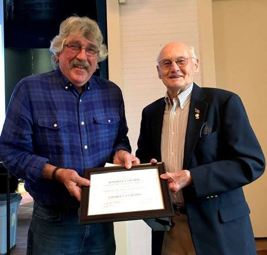 Eric Lundgren, Northville Residents Association board member, left, presents the Agnes & Samuel Knowles Award for Outstanding Community Service to Chapin. Photo: Courtesy Of Northville Residents Association / The News-Times Contributed