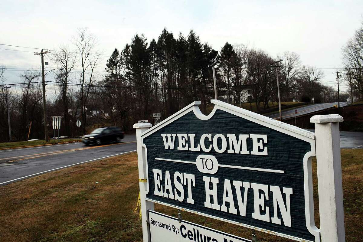 EAST HAVEN, CT - A sign welcomes drivers to East Haven. (Photo by Spencer Platt/Getty Images)