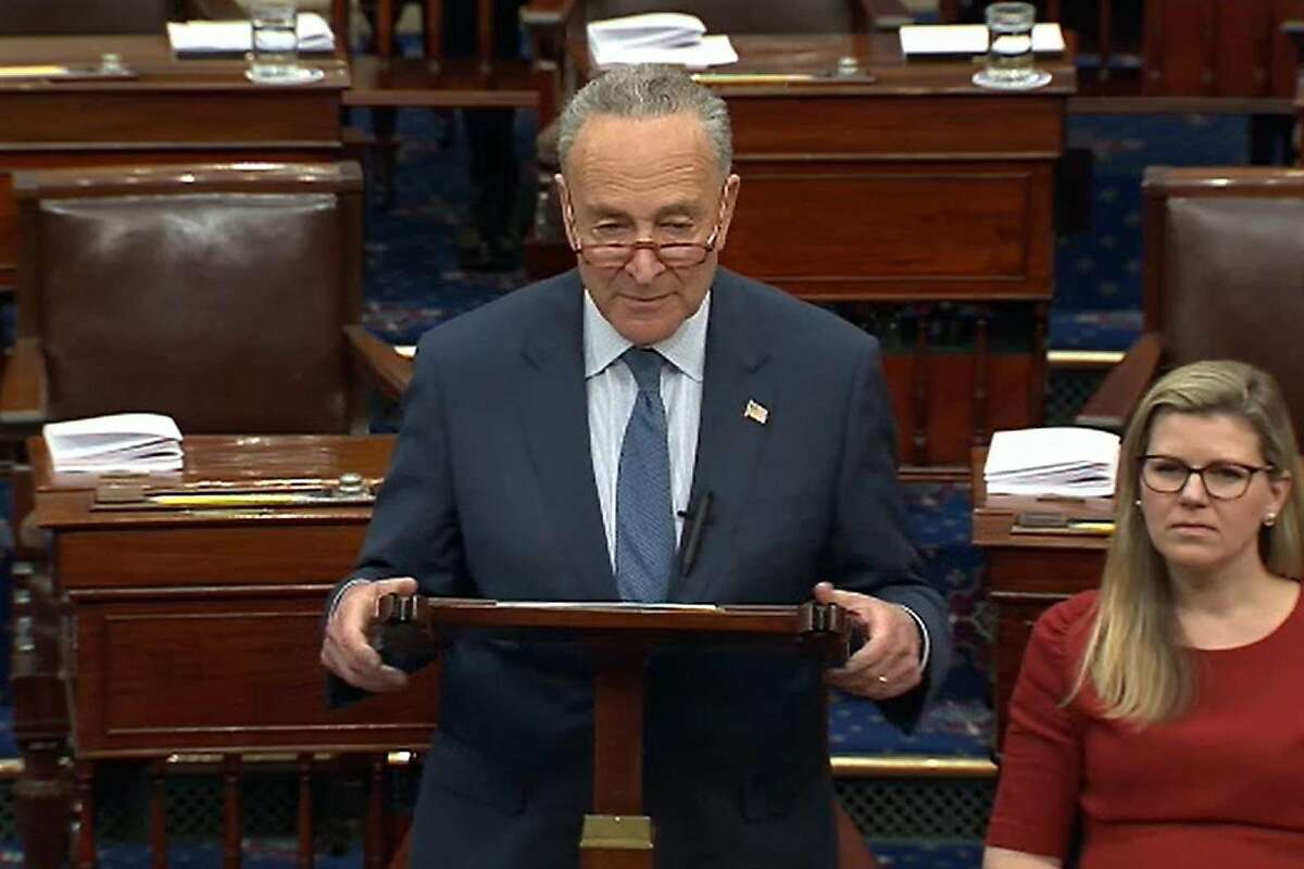 WASHINGTON, DC - JANUARY 21: In this screengrab taken from a Senate Television webcast, Senate Minority Leader Chuck Schumer (D-NY) speaks during impeachment proceedings against U.S. President Donald Trump in the Senate at the U.S. Capitol on January 21, 2020 in Washington, DC. (Photo by Senate Television via Getty Images)