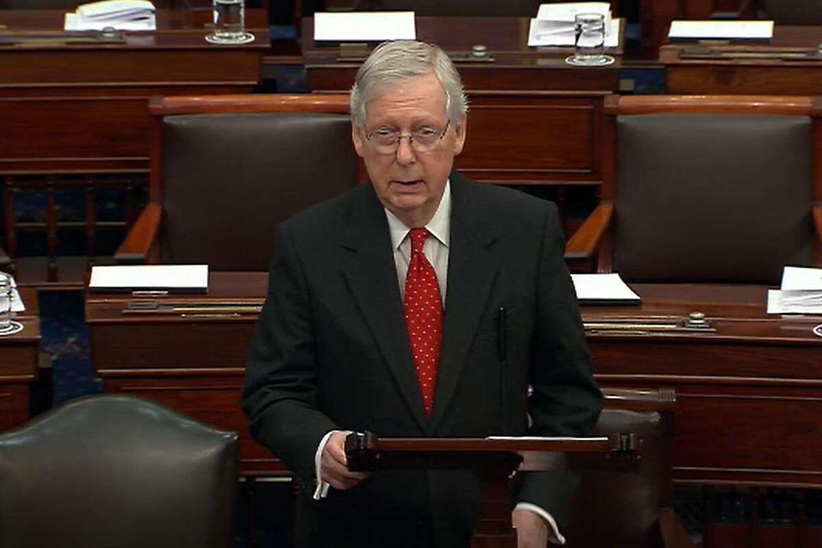 WASHINGTON, DC - JANUARY 21: In this screengrab taken from a Senate Television webcast, Senate Majority Leader Mitch McConnell (R-KY) speaks during impeachment proceedings against U.S. President Donald Trump in the Senate at the U.S. Capitol on January 21, 2020 in Washington, DC. (Photo by Senate Television via Getty Images)