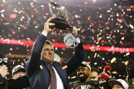 SANTA CLARA, CALIFORNIA - JANUARY 19: General manager John Lynch of the San Francisco 49ers celebrates with the George Halas Trophy after winning the NFC Championship game against the Green Bay Packers at Levi's Stadium on January 19, 2020 in Santa Clara, California. The 49ers beat the Packers 37-20. (Photo by Ezra Shaw/Getty Images)