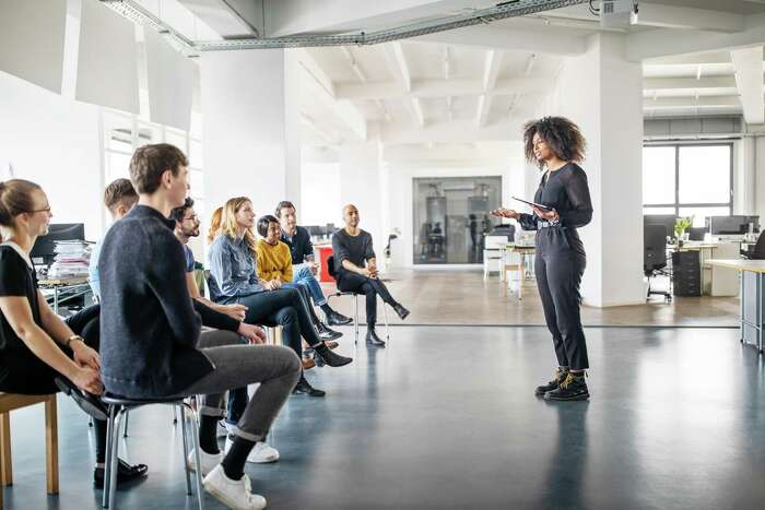 When speaking before a group, pressing down in your feet helps ground some of that frenzied energy.