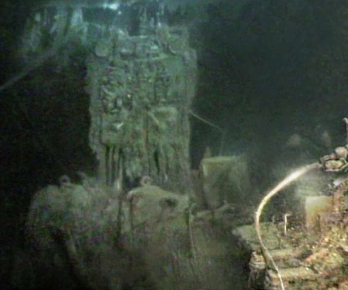 The Marconi wireless transmitter as it appears in the wreck.
