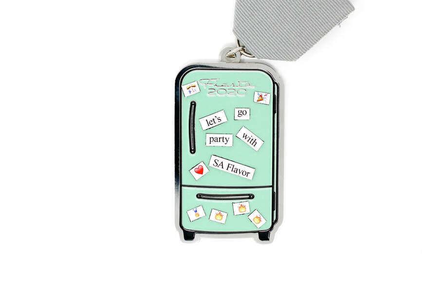 """The """"Fiesta Fridge"""" medal comes with tinymagnets so SanAntonio phrases can be created and stuck to it. Photo: Courtesy, SA Flavor"""