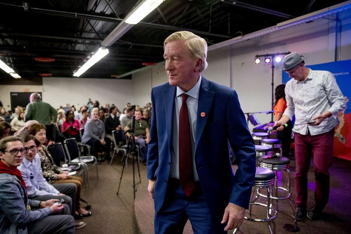 Republican presidential candidate former Massachusetts Gov. Bill Weld steps off stage after speaking at a the Faith, Politics and the Common Good Forum at Franklin Jr. High School, Thursday, Jan. 9, 2020, in Des Moines, Iowa.