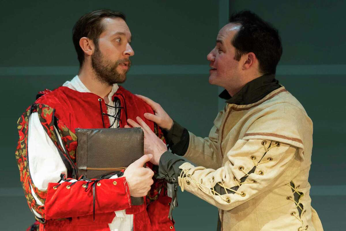 """Nick Bottom (played by Michael Valinoti, right), tries to reassure his younger brother, Nigel, (played by Stephen Emerick), that """"Omelette The Musical"""" is their ticket to fame and fortune in Curtain Call's production of """"Something Rotten,"""" onstage at the Kweskin Theatre in Stamford, Jan. 31 - Feb. 22."""