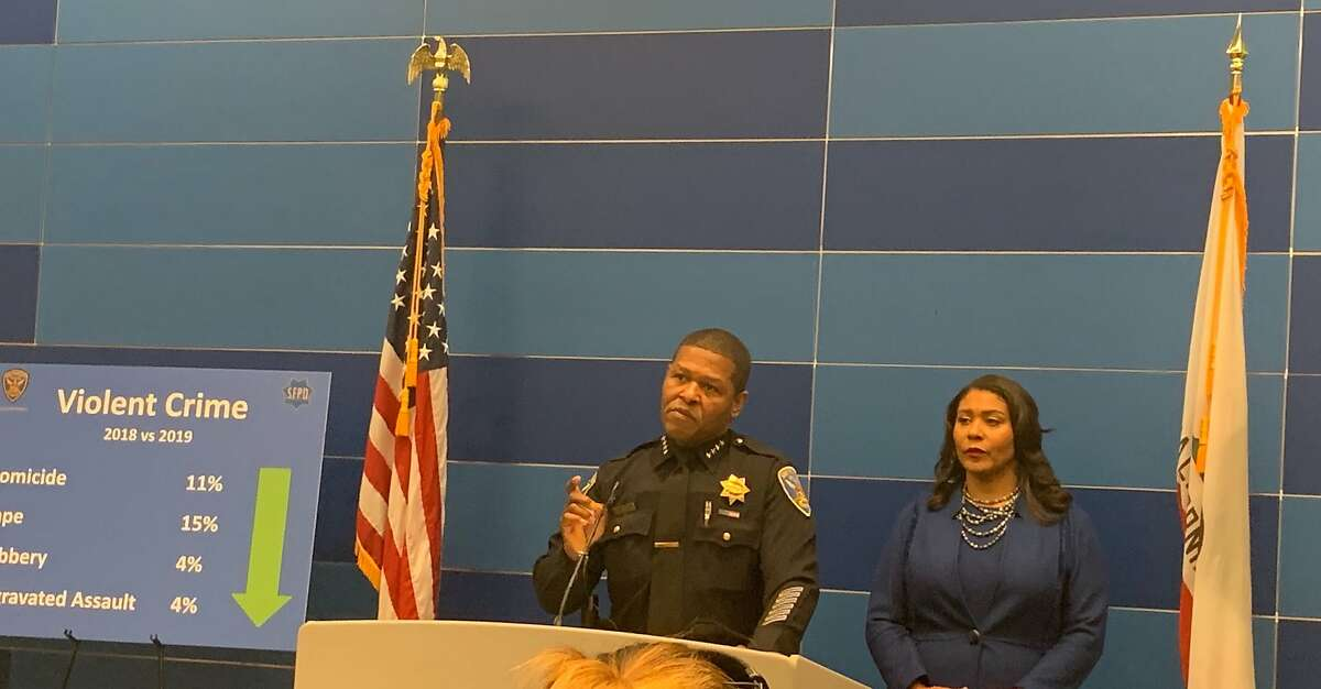 San Francisco Mayor London Breed, right, and Chief of Police William Scott stood at a podium Tuesday to trumpet the city's falling number of violent crimes, including a historic low number of homicides.