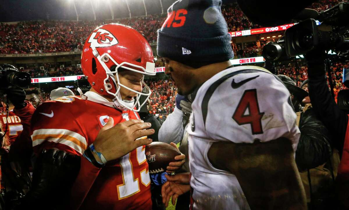 Chiefs quarterback Patrick Mahomes (left) has reset the market for NFL passers with his gargantuan payday, with Texans counterpart Deshaun Watson in line for an extension of his own soon.