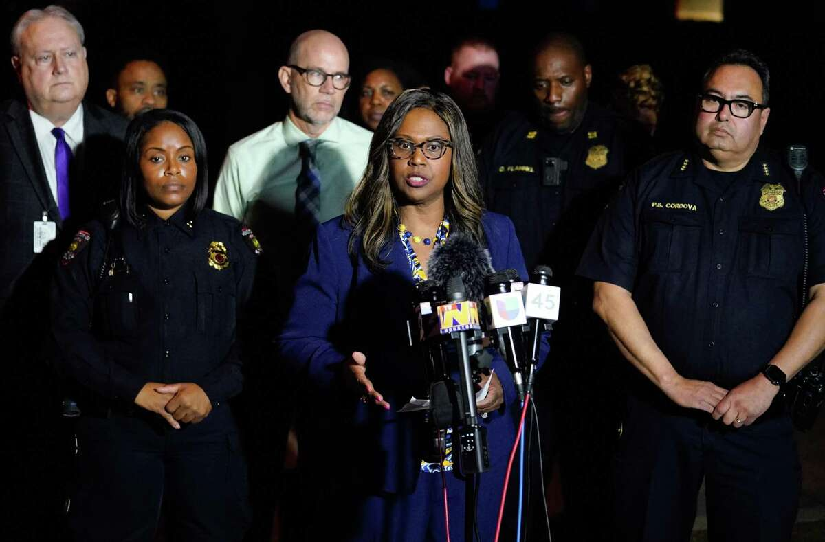 Houston ISD Interim Superintendent Grenita Lathan speaks to the media hours after 19-year-old Cesar Cortes was fatally shot Jan. 14 on the grounds of Bellaire High School. Lathan said Tuesday that district officials are considering security upgrades, including metal detectors, in response to the shooting.