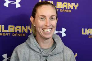 University at Albany Women's Lacrosse head coach Katie Rowan Thomson talks with reporters during a news conference Tuesday, Jan. 21, 2020, in Albany, N.Y. (Hans Pennink / Special to the Times Union)  ORG XMIT:  012220_ualax_HP112