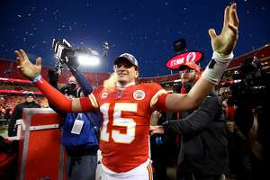KANSAS CITY, MISSOURI - JANUARY 19: Patrick Mahomes #15 of the Kansas City Chiefs reacts after defeating the Tennessee Titans in the AFC Championship Game at Arrowhead Stadium on January 19, 2020 in Kansas City, Missouri. The Chiefs defeated the Titans 35-24. (Photo by Jamie Squire/Getty Images)