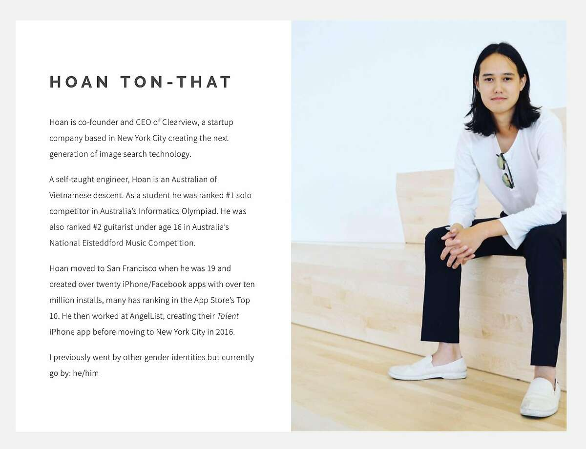 Pictured is the homepage of the website for Hoan Ton-That, co-founder and CEO of Clearview AI