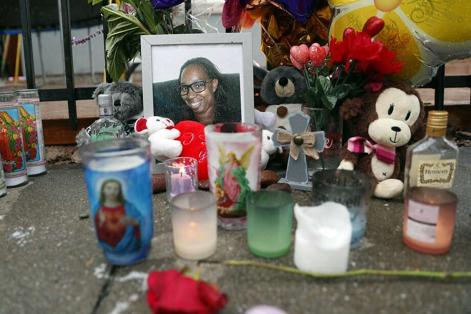 A memorial at the scene of the death by hit and run driver of Miesha Singleton in front of Elmhurst United Middle School in Oakland, Calif., on Tuesday, January 21, 2020. Photo: Scott Strazzante / The Chronicle