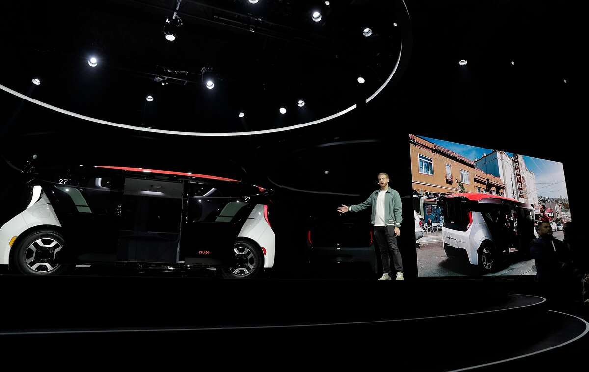 Kyle Vogt shows off the new Cruise vehicle at the unveiling of the Cruise Origin, a fully autonomous passenger vehicle in San Francisco, Calif., on Tuesday, January 21, 2020.