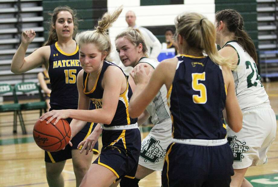 The Bad Axe girls basketball team picked up a 45-42 win at Laker on Tuesday night. Photo: Mark Birdsall/Huron Daily Tribune