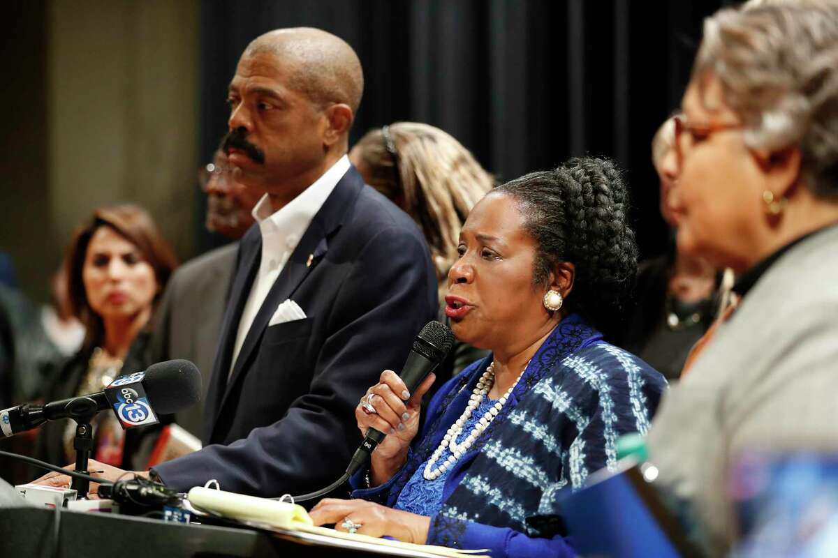 Congresswoman Sheila Jackson Lee speaks to the media before speaking at a town hall on creosote contamination in the Fifth Ward hosted by Jackson Lee at Wheatley High School, in Houston, Tuesday, Jan. 21, 2020.
