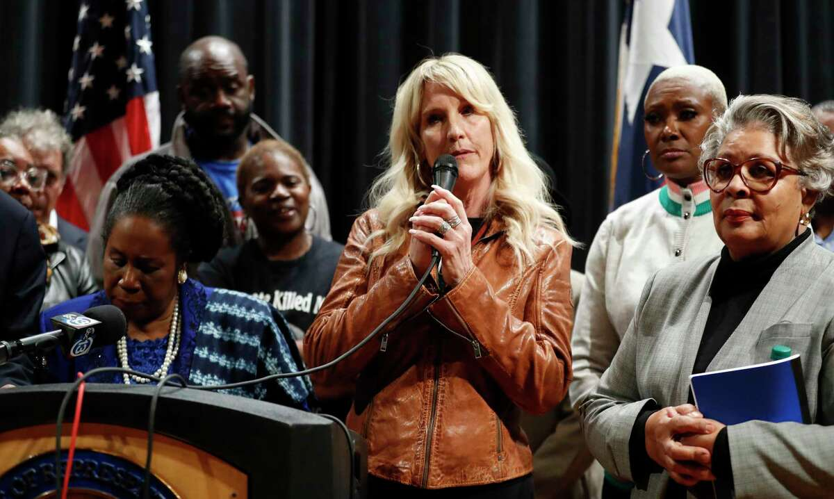 Environmental expert and advocate Erin Brockovich speaks at a town hall on creosote contamination in the Fifth Ward hosted by Congresswoman Sheila Jackson Lee at Wheatley High School, in Houston, Tuesday, Jan. 21, 2020.