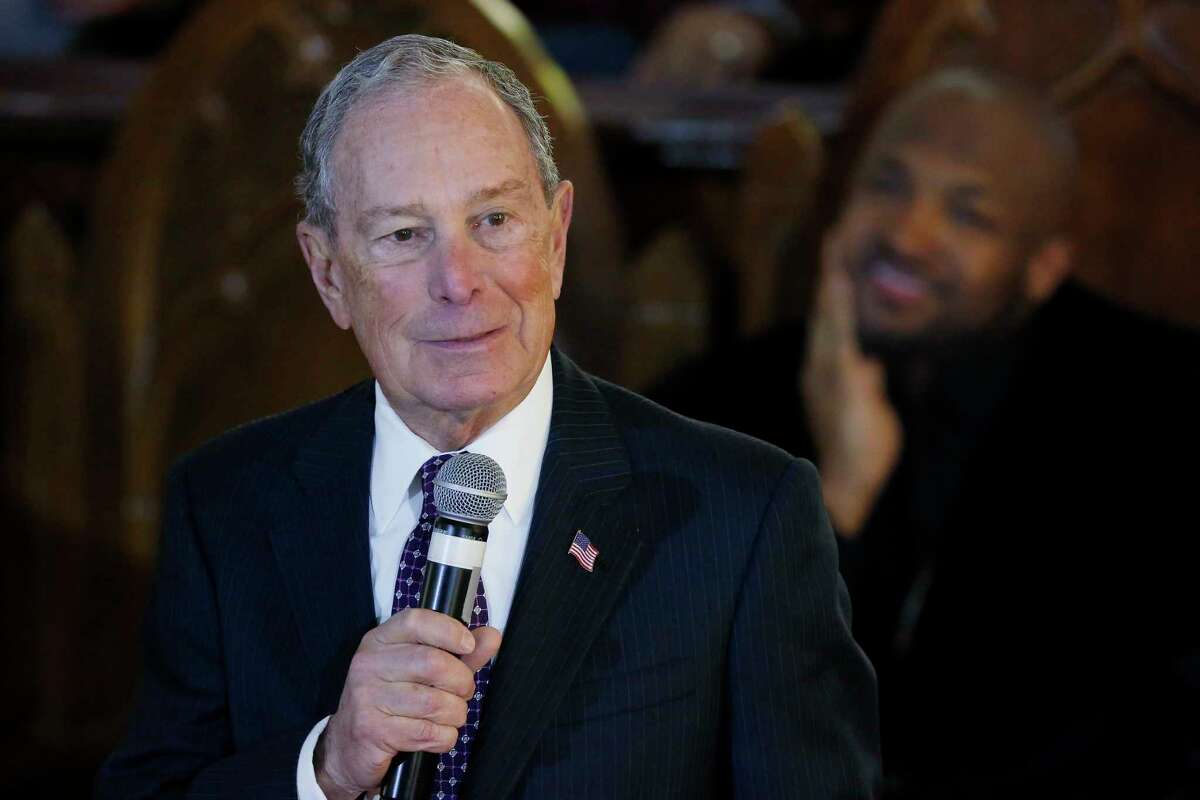 CORRECTS THE NAME OF THE CHUCH TO VERNON CHAPEL AFRICAN METHODIST EPISCOPAL CHURCH - Democratic Presidential candidate Michael Bloomberg speaks during a service at the Vernon Chapel African Methodist Episcopal Church in Tulsa, Okla., Sunday, Jan. 19, 2020. (AP Photo/Sue Ogrocki)