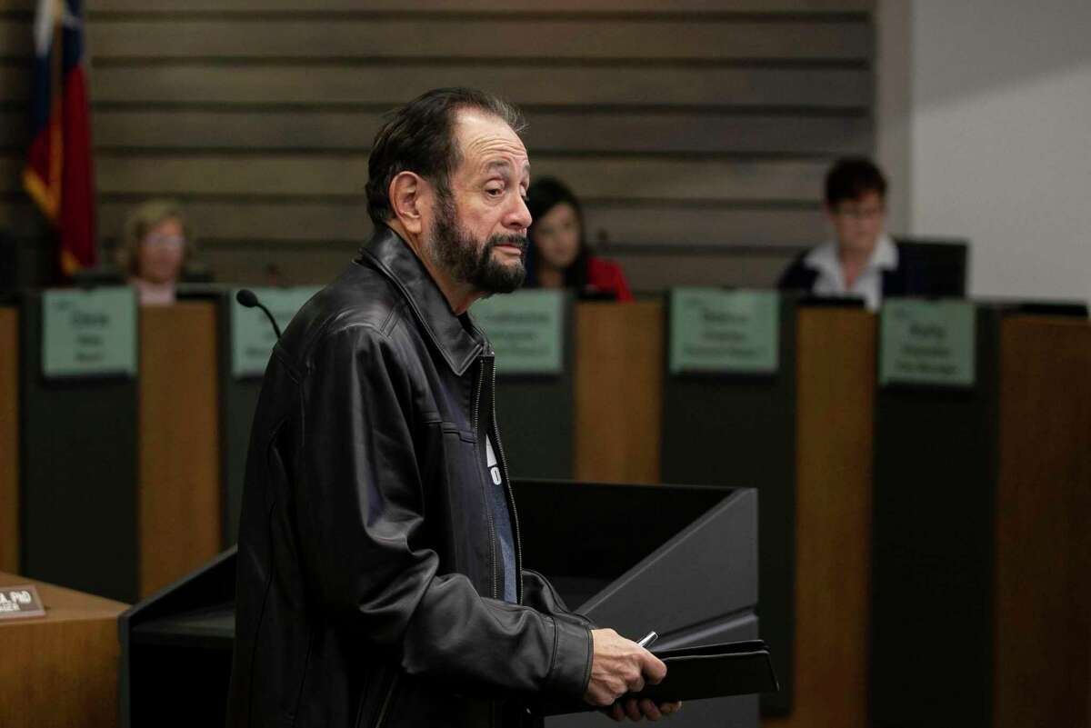 Former Councilor Benny Martinez leaves the stand during the public comment portion of a Leon Valley City Council meeting in January. Martinez was removed from office at the conclusion of a council forfeiture hearing last year.