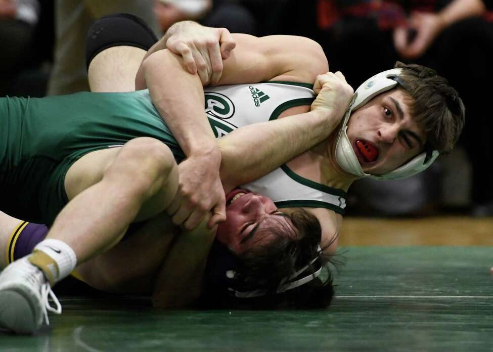 Shen's Sam Bergin wrestles Ballston Spa's Chris Grace for the 170-lb weight class final of a Division I dual meet at Shenendehowa High School in Clifton Park, N.Y., on Tuesday, Jan. 21, 2020. (Jenn March, Special to the Times Union)