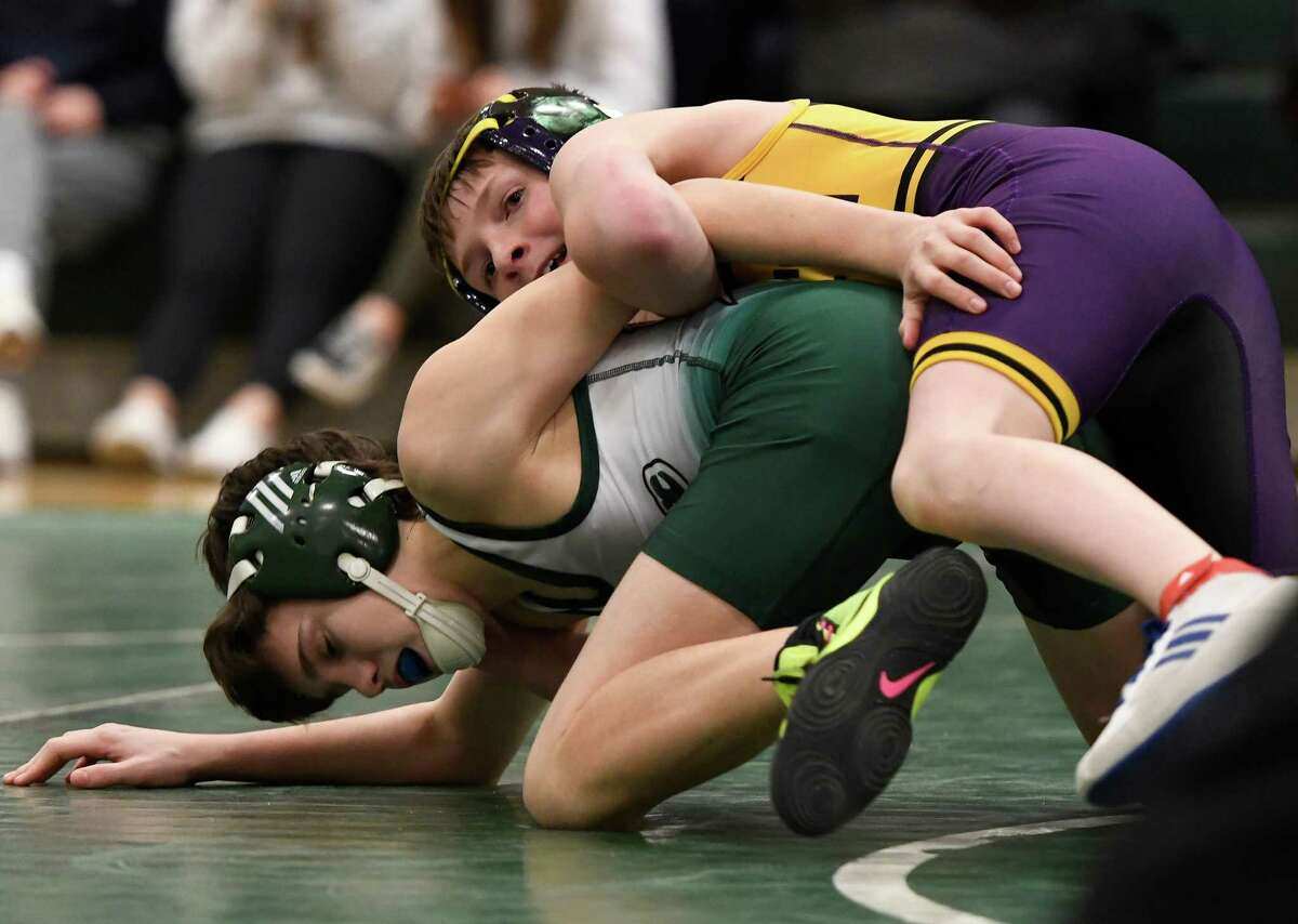 Ballston Spa's Ralph Keenan wrestles Shen's Brandon Deuel for the 99-lb weight class final of a Division I dual meet at Shenendehowa High School in Clifton Park, N.Y., on Tuesday, Jan. 21, 2020. (Jenn March, Special to the Times Union)