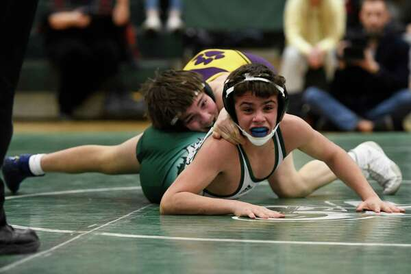 Shen's Vincent Grembocki wrestles Ballston Spa's Nick Palso for the 106-lb weight class final of a Division I dual meet at Shenendehowa High School in Clifton Park, N.Y., on Tuesday, Jan. 21, 2020. (Jenn March, Special to the Times Union)