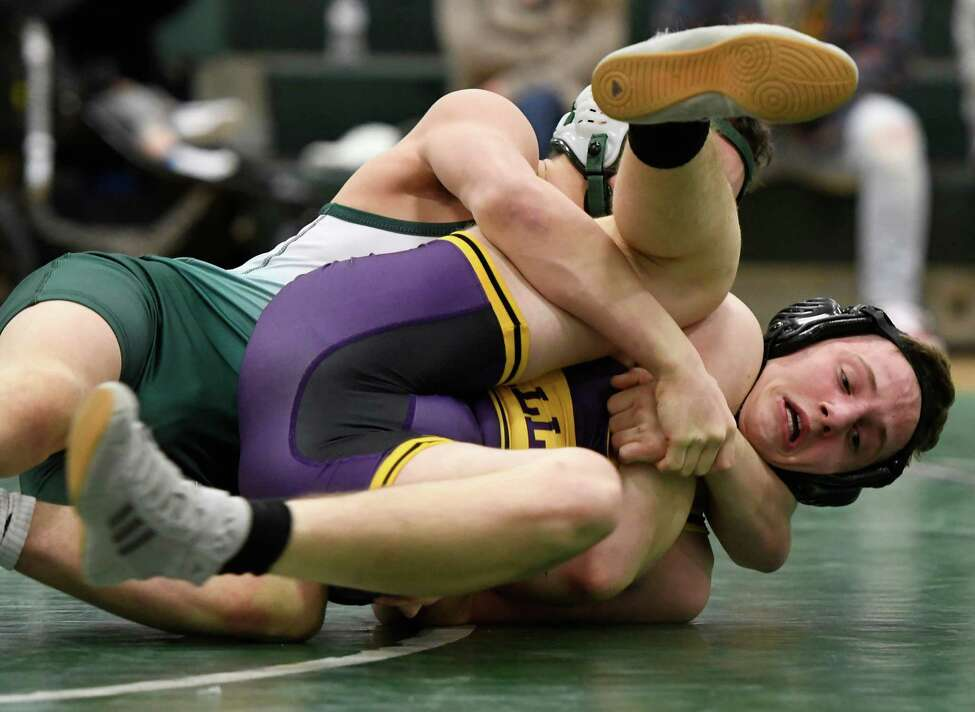 Shen's Ayden Robles wrestles Ballston Spa's Zach Fitzgerald for the 126-lb weight class final of a Division I dual meet at Shenendehowa High School in Clifton Park, N.Y., on Tuesday, Jan. 21, 2020. (Jenn March, Special to the Times Union)