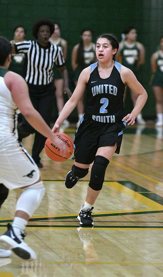 Angelina Lopez and the Lady Panthers defeated Nixon 51-47 Tuesday. Lopez led United South with 18 points in the win. For full coverage, visit LMTonline.com. Photo: Cuate Santos /Laredo Morning Times / Laredo Morning Times