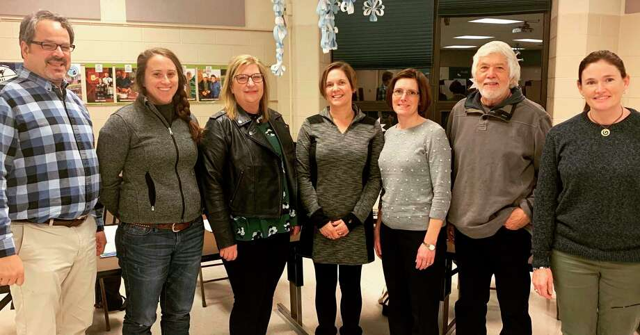 Frankfort's board of education is made up of (pictured left to right) president Mike Pasche, trustee Aubrey Ann Parker, secretary Julie Stefanski, treasurer Stephanie Scott, vice president Arah Johnson, Trustee Wes Blizzard and trustee Katie Larsen. Not pictured is student representative Nora Pasche. (Courtesy photo/Mike Tiesworth)