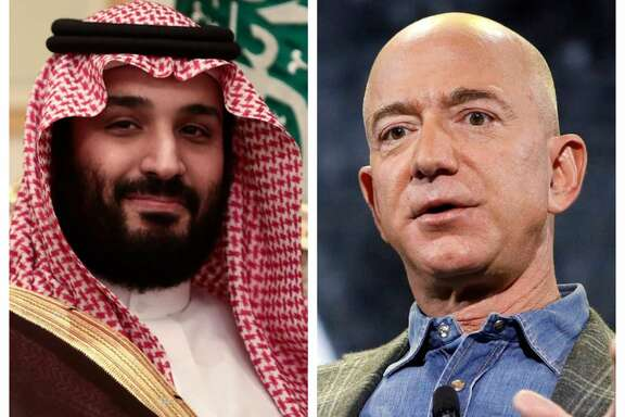 A WhatsApp account controlled by Mohammed bin Salman, Saudi Arabia's deputy crown prince, left, is believed to have sent a file containing malware that hacked the phone of Amazon co-founder Jeff Bezos.