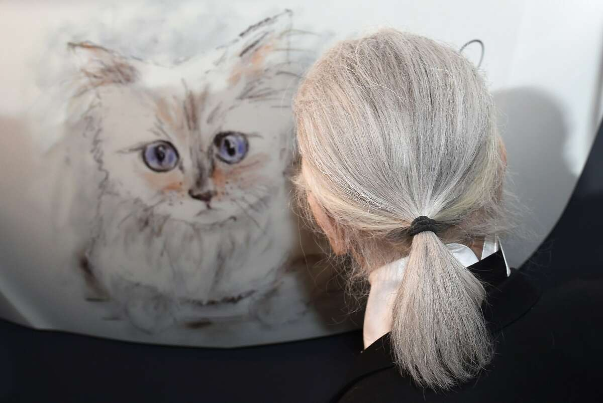 """German fashion designer, artist, and photographer Karl Lagerfeld poses next to a painting of his cat """"Choupette"""" during the inauguration of the show """"Corsa Karl and Choupette"""" at the Palazzo Italia in Berlin on February 3, 2015. Lagerfeld presented the Corsa Calendar, consisting of photographs Lagerfeld has taken of his cat Choupette posing in and on the new Corsa model of car maker Opel. AFP PHOTO / DPA / JENS KALAENE +++ GERMANY OUTJENS KALAENE/AFP/Getty Images"""