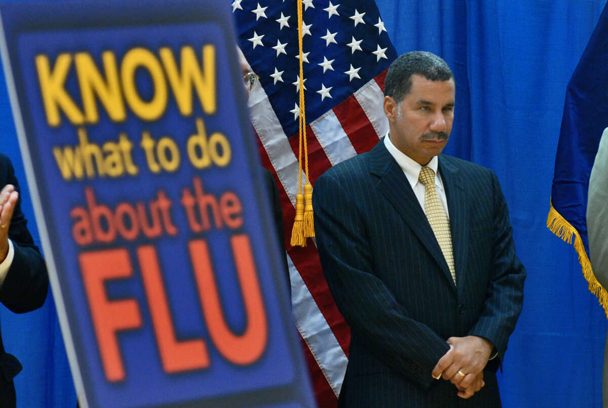 Gov. David Paterson attends a media conference at the Stephen and Harriet Myers Middle School in Albany to speak about efforts to prepare for possible swine flu cases during the coming school year in August 2009.