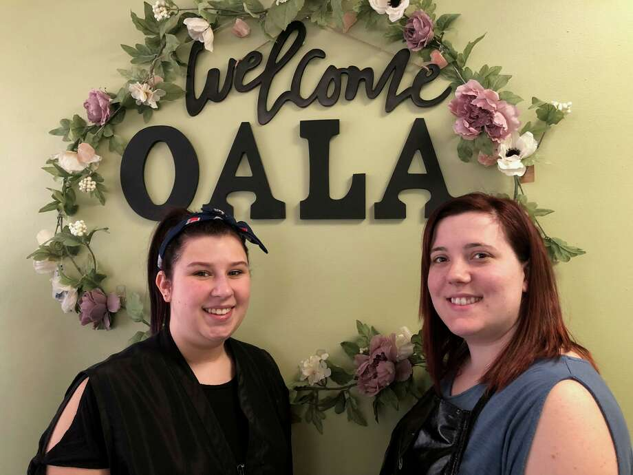 Ashley Tremblay, right, has opened Oala Hair Loft in the Conti building on Howe Avenue. She is with her assistant, Marisa Panuczak. Photo: Brian Gioiele / Hearst Connecticut Media / Connecticut Post