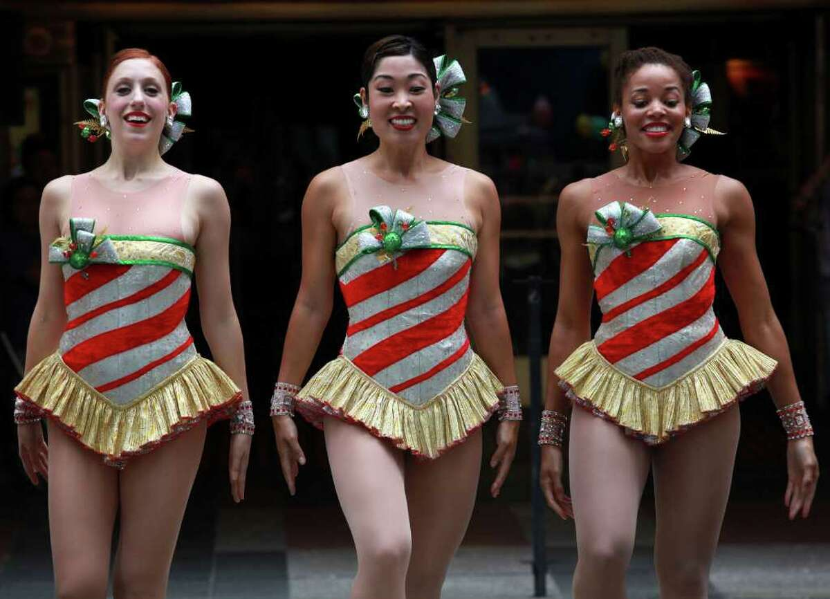 NEW YORK - AUGUST 12: The Radio City Rockettes perform during the 2010 Radio City Christmas Spectacular Kick-Off at Radio City Music Hall on August 12, 2010 in New York City. (Photo by Astrid Stawiarz/Getty Images)