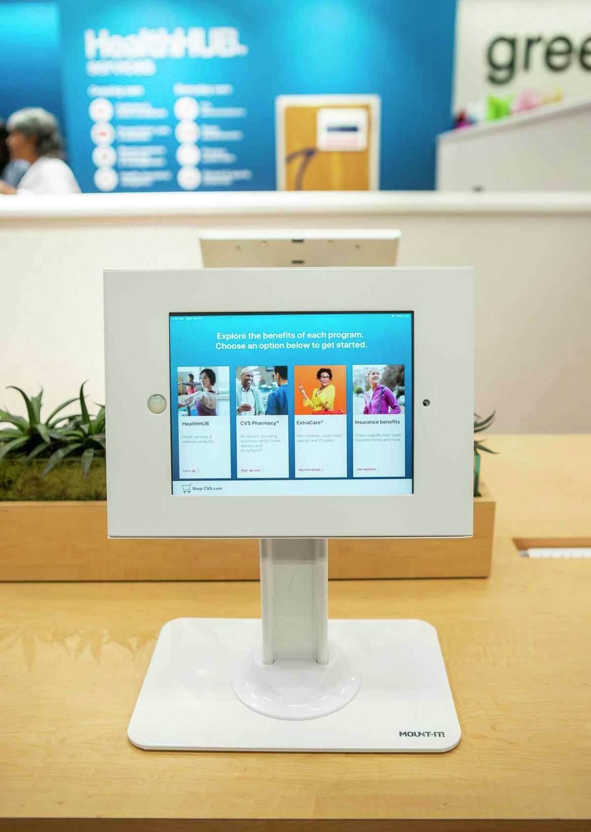 """One of the tablets on a """"discovery table"""" at CVS's Minute Clinic """"health hub"""" in the Galleria area of Houston on Monday, Jan. 13, 2020."""