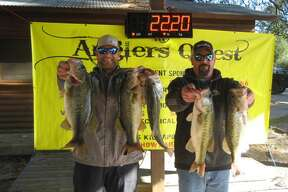 Cody Hall and Garrett Pierce won first place in the Anglers Quest No. 1 Team Tournament with a total stringer weight of 22.20 pounds.