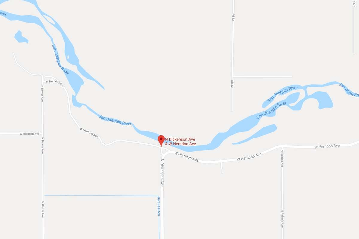 A man fleeing police sped a car across the San Joaquin River at North Dickerson and West Herndon avenues.