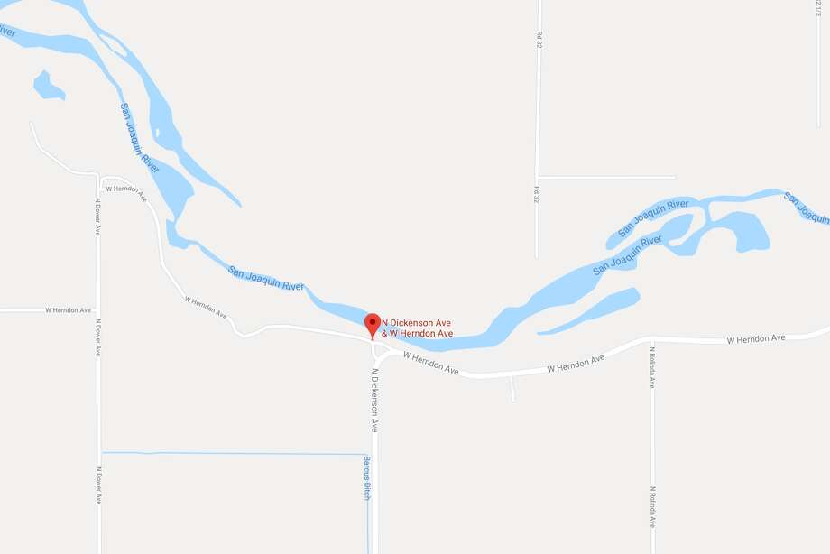 A man fleeing police sped a car across the San Joaquin River at North Dickenson and West Herndon avenues. Photo: Google Maps