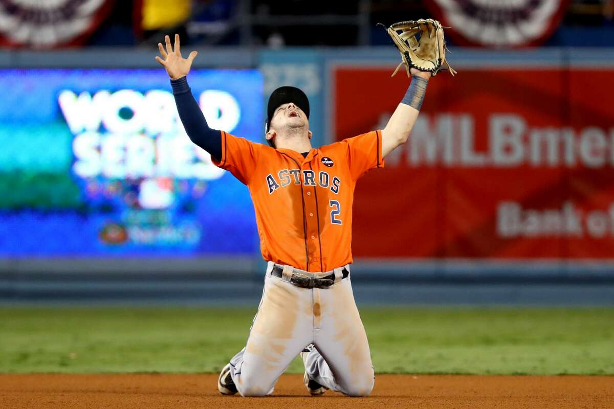 Alex Bregman #2 of the Houston Astros celebrates after the Astros defeated the Los Angeles Dodgers in Game 7 of the 2017 World Series at Dodger Stadium on Wednesday, November 1, 2017 in Los Angeles, California.
