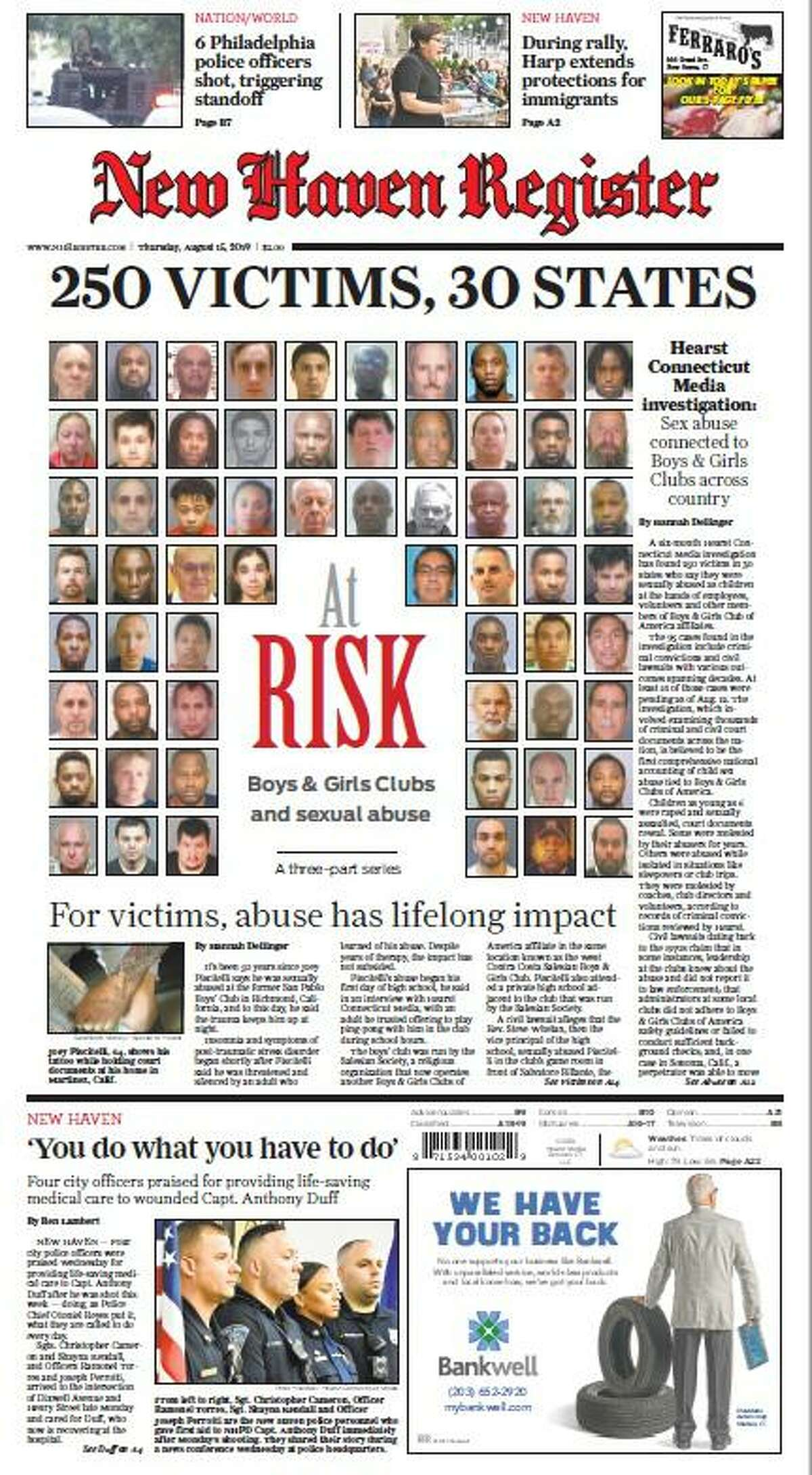 One of our front pages for Day 1 of the At Risk: Boys & Girls Clubs and sexual abuse project.