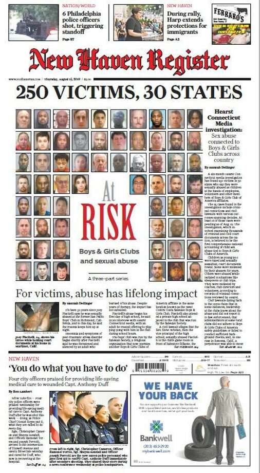 One of our front pages for Day 1 of the At Risk: Boys & Girls Clubs and sexual abuse project. Photo: File