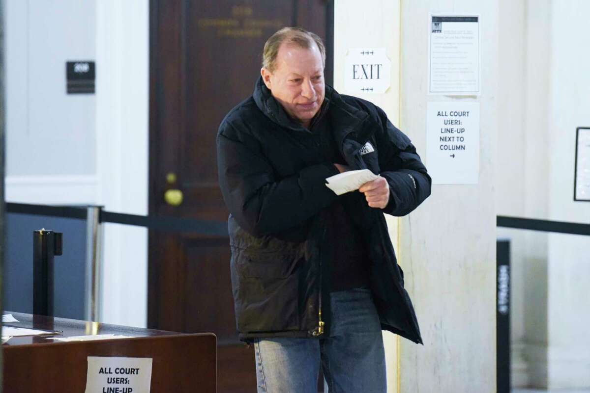 William Eichengrun, owner of the Wedgeway building, walks out of Schenectady City Court on Wednesday, Jan. 22, 2020. (Paul Buckowski/Times Union)