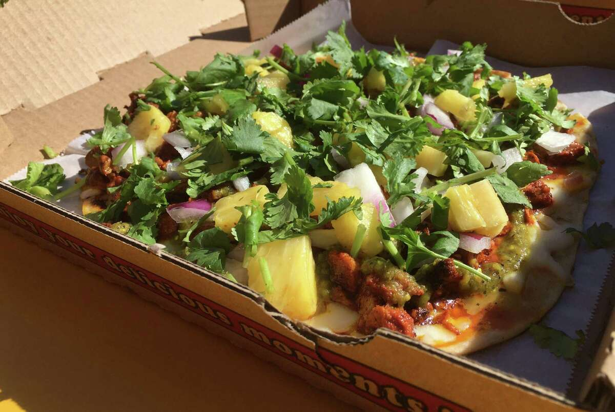 The al pastor pizza at Bob & Timmy's on Wheels.